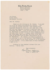 Kennedy Assassination: Oscar L. Huber Typed Letter Signed