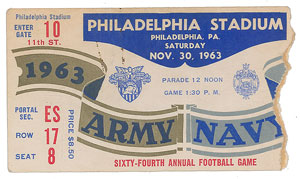 Kennedy Assassination: 1963 Army vs. Navy Football Ticket