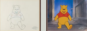 Winnie the Pooh production cel and drawing from The New Adventures of Winnie the Pooh