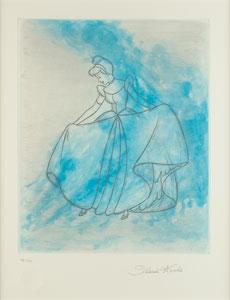 Cinderella aquatint print signed by Ilene Woods