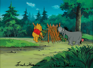 Winnie the Pooh and Eeyore key master background setup signed by Frank Thomas and Ollie Johnston