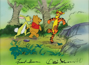 Winnie the Pooh, Tigger, and Rabbit production cel and production background signed by Frank Thomas and Ollie Johnston