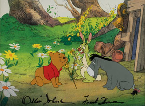 Winnie the Pooh, Rabbit, and Eeyore production cel and matching drawings signed by Frank Thomas and Ollie Johnston