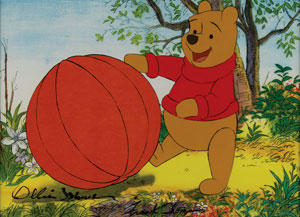 Winnie the Pooh production cel and matching drawing signed by Frank Thomas and Ollie Johnston
