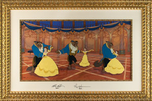 Beauty and the Beast limited edition hand-painted cel signed by Paige O'Hara and Robbie Benson