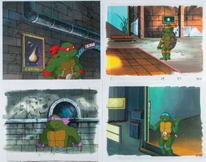 Group of (4) production cels from Teenage Mutant Ninja Turtles