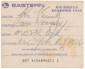 John F. Kennedy, Jr. Signed Boarding Pass