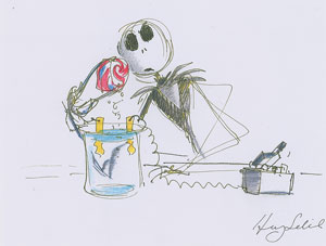 Henry Selick storyboard drawing of Jack Skellington from The Nightmare Before Christmas