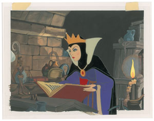 The Evil Queen production cel and custom background from Snow White and the Seven Dwarfs