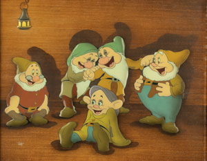 Dopey, Doc, Sleepy, Bashful, and Happy production cel from Snow White and the Seven Dwarfs
