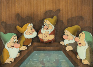 Bashful, Happy, Doc, Sneezy, and Sleepy production cels  from Snow White and the Seven Dwarfs