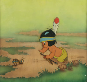 Little Hiawatha and grasshopper production cels  from Little Hiawatha
