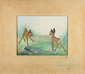 Walt Disney signed production cel and production background of Bambi and Faline from Bambi