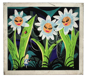 Mary Blair concept painting of Alice from Alice in Wonderland
