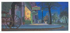 Eyvind Earle concept storyboard painting of Lady and Tramp from Lady and the Tramp