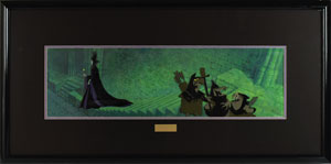 Maleficent and Goons production cels and Eyvind Earle background from Sleeping Beauty