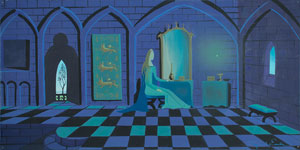 Eyvind Earle concept storyboard painting of Princess Aurora from Sleeping Beauty