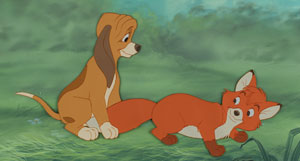 Tod and Copper production cels and hand-painted background from The Fox and the Hound