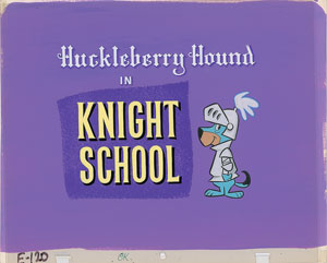 Huckleberry Hound production key master cel and background title card from Knight School