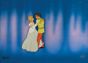 Cinderella 50th anniversary hand-painted cel and background