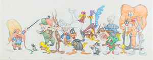 Looney Tunes characters original super-pan drawing by Virgil Ross
