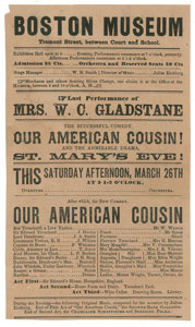 Abraham Lincoln: Our American Cousin Handbill