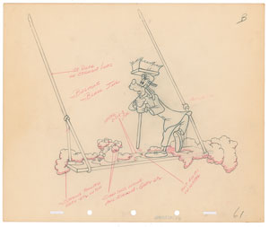 Goofy production drawing from The Big Wash