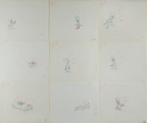 Woody Woodpecker production drawings from a Woody Woodpecker cartoon