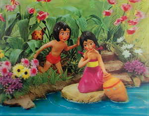 Mowgli and girl 3-D lenticular artwork from The Jungle Book