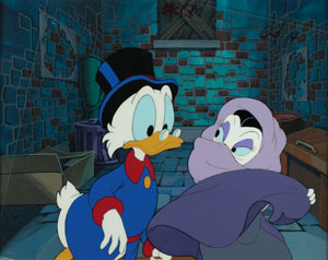 Uncle Scrooge and Magica De Spell production cel and drawings from DuckTales