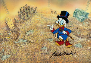 Uncle Scrooge production cel from DuckTales signed by Carl Barks