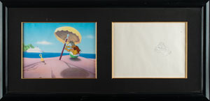 Donald Duck production cel and drawing from a Disney short