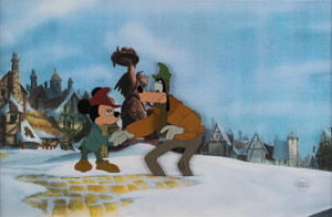Mickey Mouse and Goofy production cel from The Prince and the Pauper