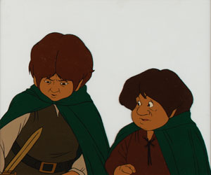 Frodo and Samwise production cel from The Lord of the Rings