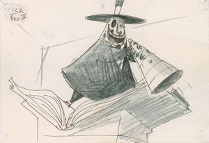 Jorgen Klubien production storyboard drawing of The Mayor from The Nightmare Before Christmas
