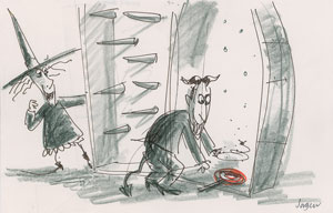 Jorgen Klubien production storyboard drawing of Lock and Barrel from The Nightmare Before Christmas