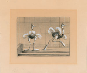 Ostrich ballerinas concept storyboard drawing from Fantasia