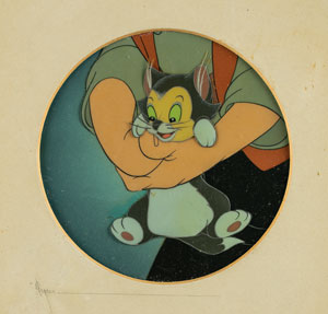 Figaro and Geppetto production cel from Pinocchio
