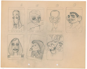 T. Hee concept model sheet drawing of Hollywood actors and actresses from Mother Goose Goes Hollywood