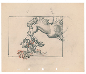 Pegasus and baby concept storyboard drawing from Fantasia