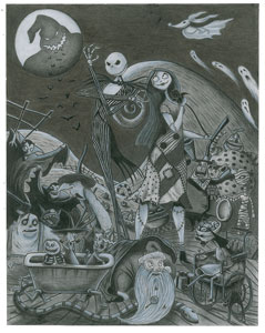 Halloween Town characters concept artwork from The Nightmare Before Christmas