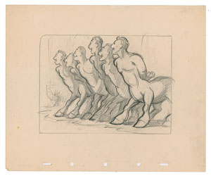 Centaurs concept storyboard drawing from Fantasia