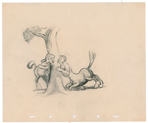 Male and female centaurs concept storyboard drawing from Fantasia