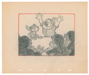 Doc, Dopey, Happy, Sneezy, and Bashful concept layout drawing from Snow White and the Seven Dwarfs
