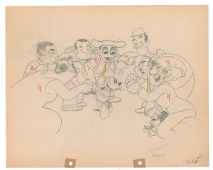 Mickey Mouse and celebrities production drawing from Mickey's Gala Premier