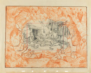The Seven Dwarfs concept layout drawing from Snow White and the Seven Dwarfs