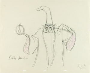 Merlin production drawing from The Sword in the Stone signed by Ollie Johnston