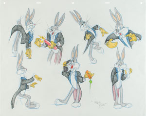 Bugs Bunny model sheet original drawing by Virgil Ross