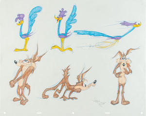 Wile E. Coyote and the Road Runner model sheet drawing by Virgil Ross