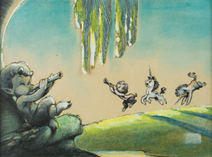 Satyrs and unicorns concept storyboard artwork from Fantasia